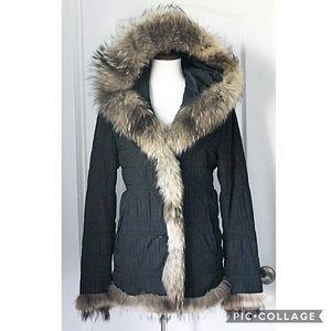 Macy's Fox Fur Trimmed Coat